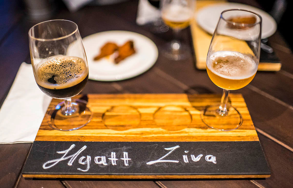 Hyatt Ziva Cancun Brewery Tres Cervazas a picture of two kinds of craft beer