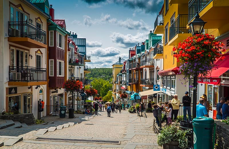 Tremblant Village Pedestrian Village Vacation Couple Kristin Shadi Wanderlust