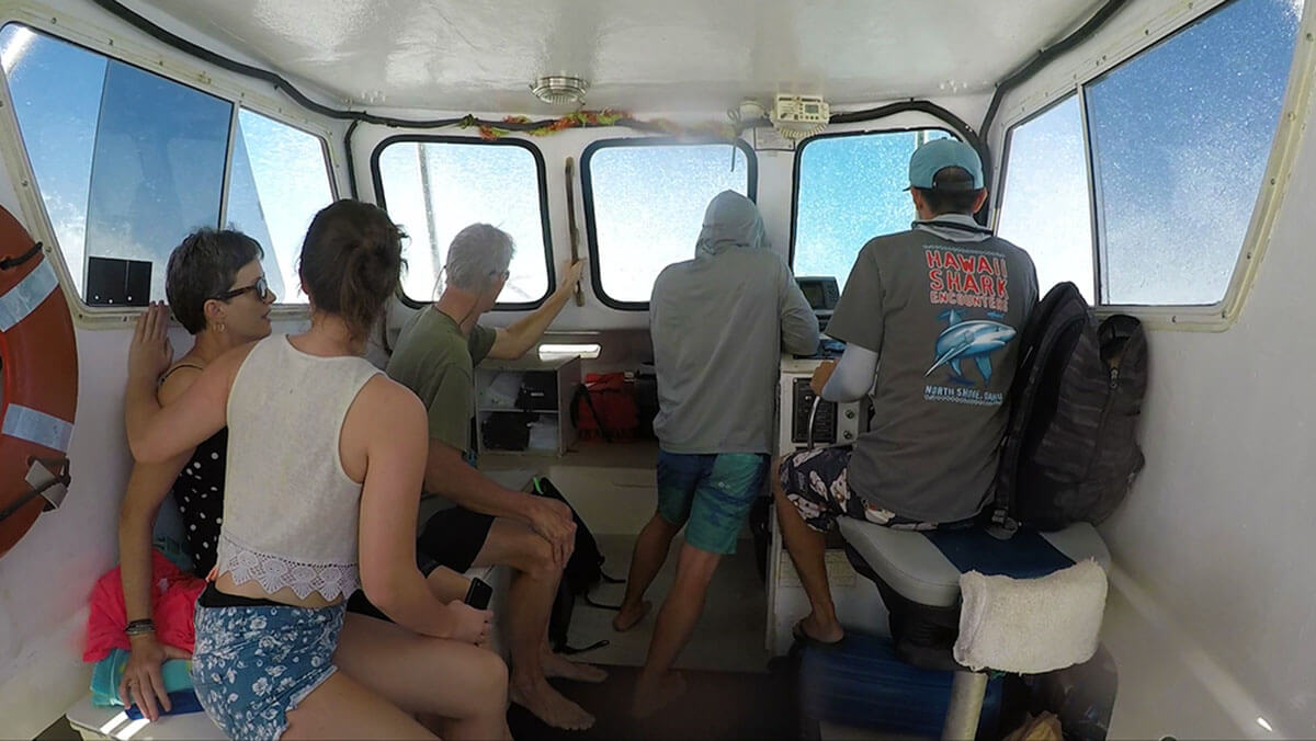 An inside look at the Hawaii Shark Encounters boat taking us out to the shark cage on Oahu Top things to do in Hawaii