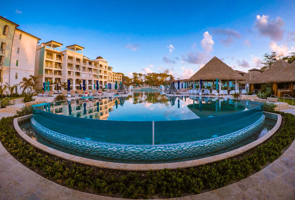 Bottom View of the Glass-Fronted Oceanview Infinity Pool at Sandals Royal Barbados
