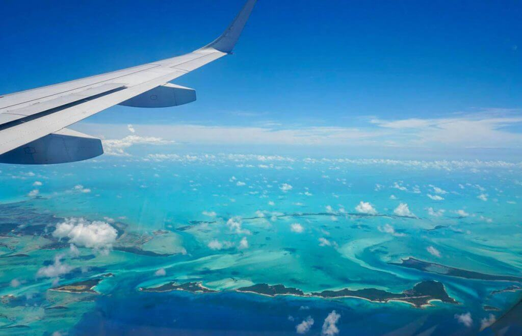 flying over the exumas with air canada vacations