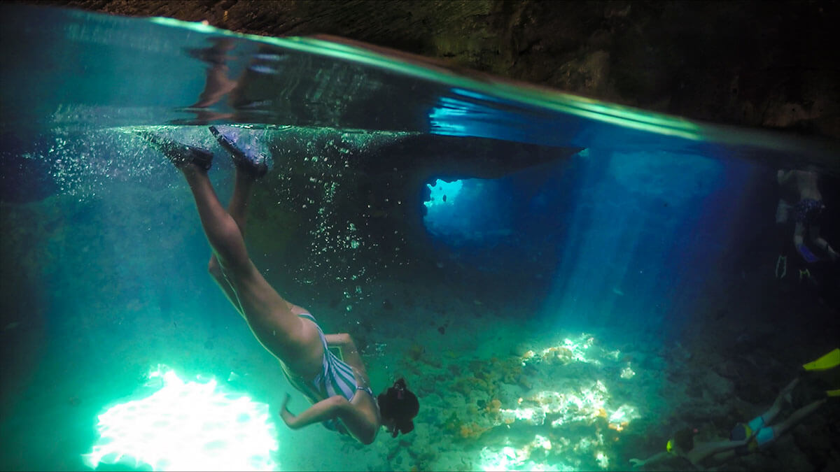 Thunderball Grotto over under gopro Things to do in Exuma