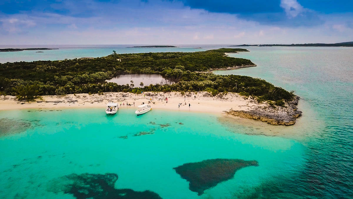 Allen Cay Leaf Cay iguana beach aerial shot things to do in exuma