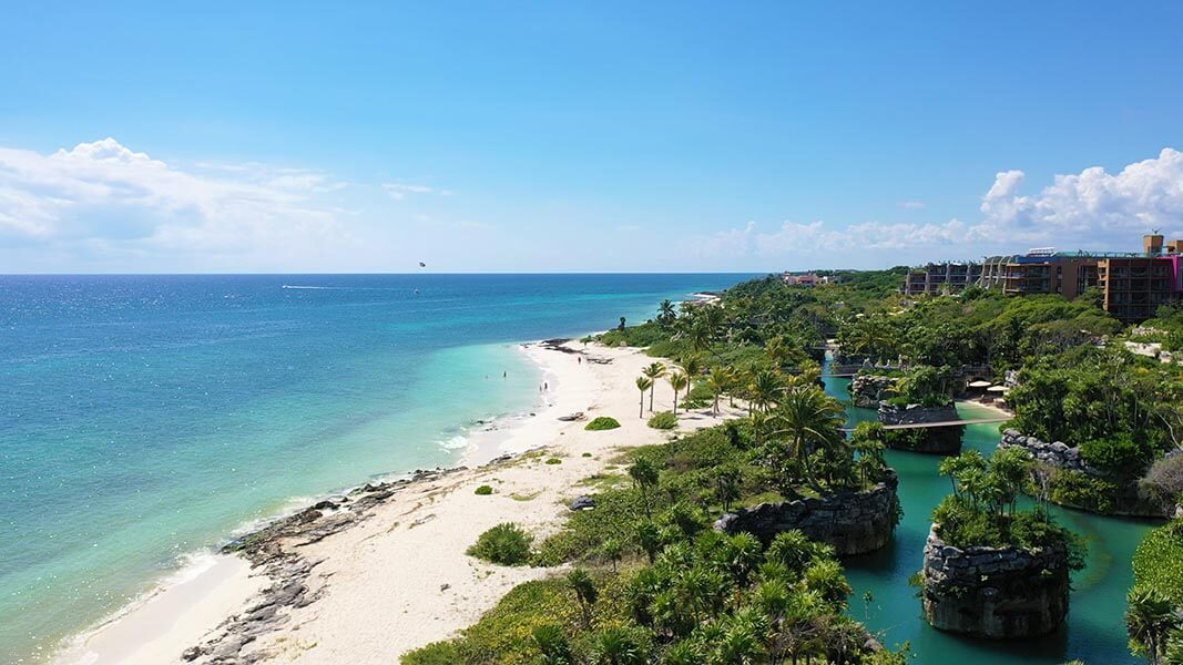 Hotel Xcaret Mexico Beach Aerial Shot by Vacation Couple