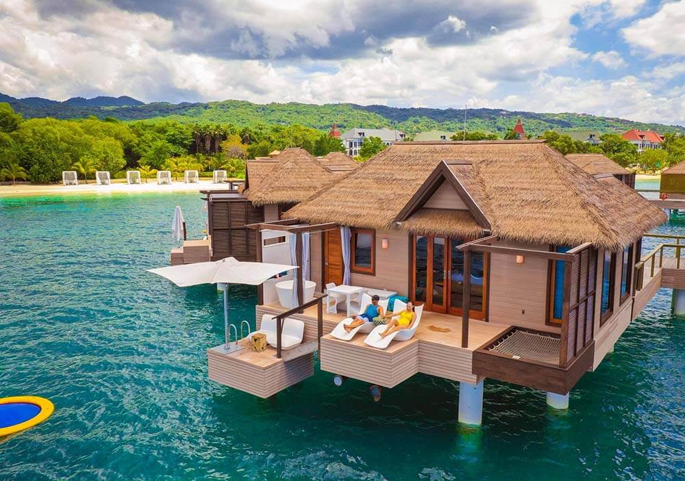 Overwater Bungalows side view at sandals south coast