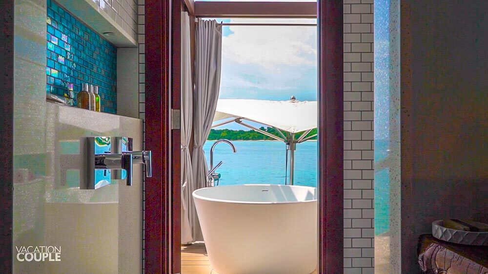 SANDALS SOUTH COAST OVERWATER BUNGALOW ROOM TOUR outdoor bathroom peek