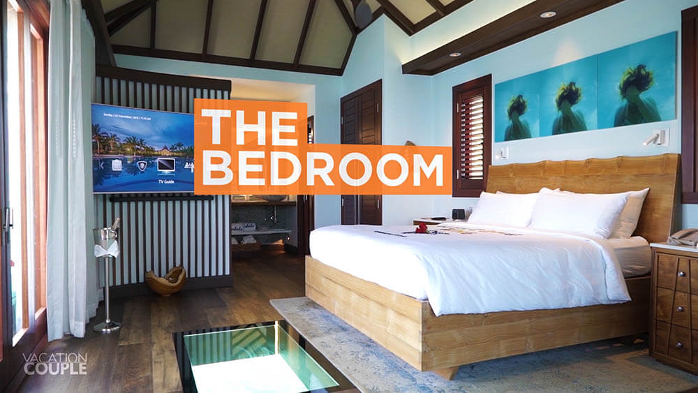 The Bedroom of an overwater bungalow at sandals south coast jamaica