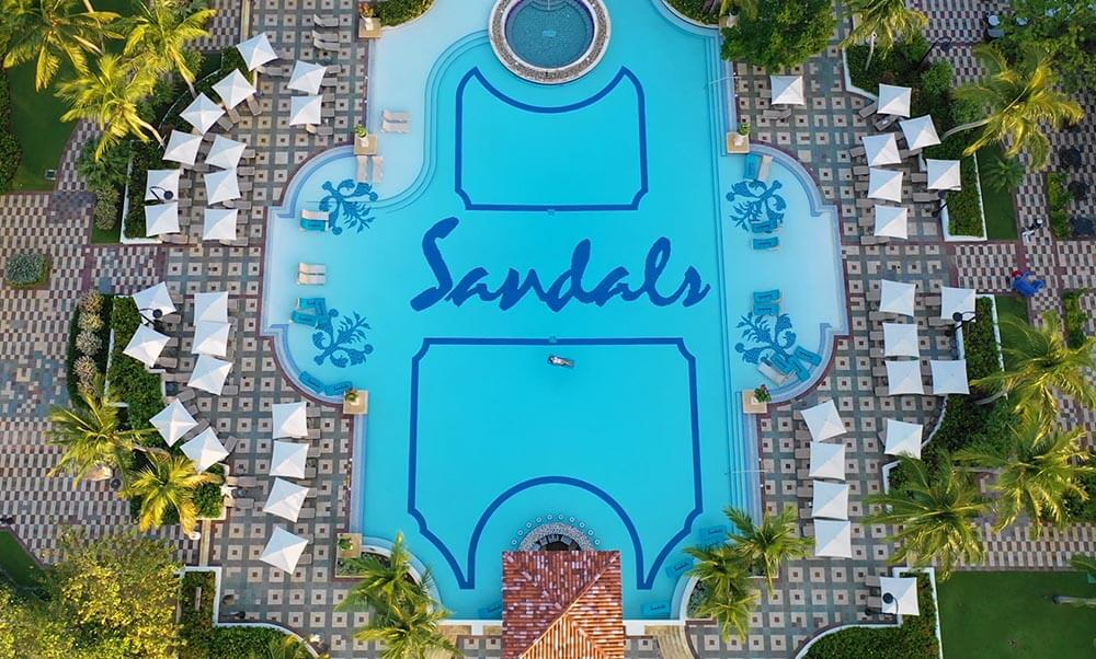 SANDALS SOUTH COAST OVERWATER BUNGALOW main pool zero-entry largest in jamaica
