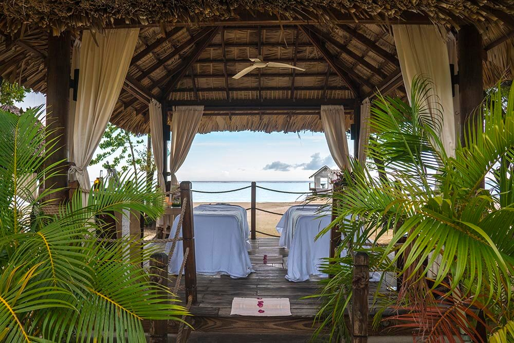 Sandals South Coast jamaica Red Lane Spa treatment area on th beach couples massage