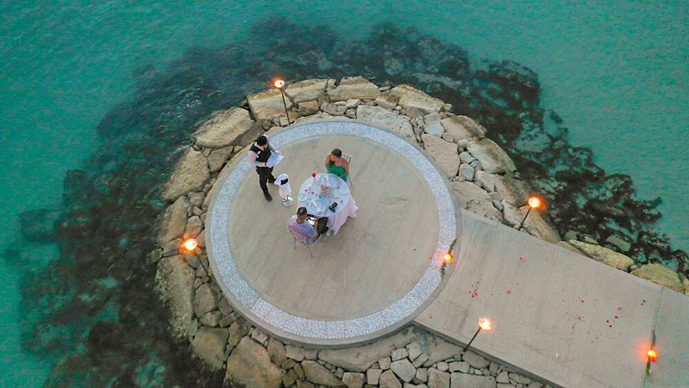 sandals south coast jamaica romantic dinner drone