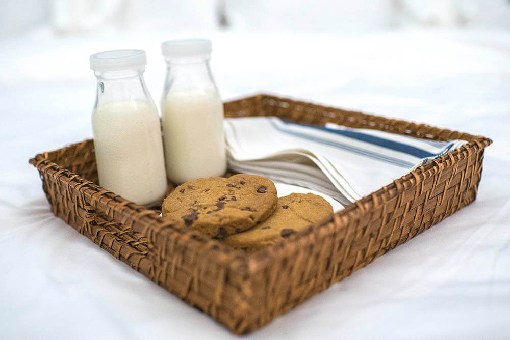sandals south coast Jamaica room service milk and cookies