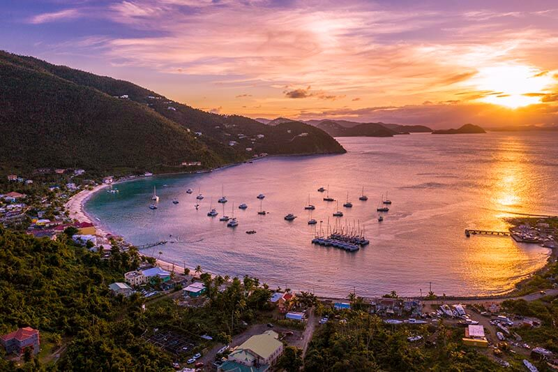 Sunset at Jost Van Dyke in the British Virgin Islands