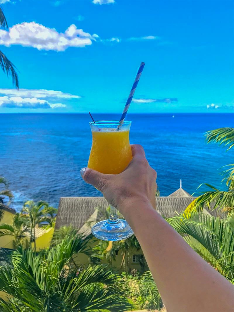 Sandals Regency La Toc Review Mango Daquiri Cheers on Balcony
