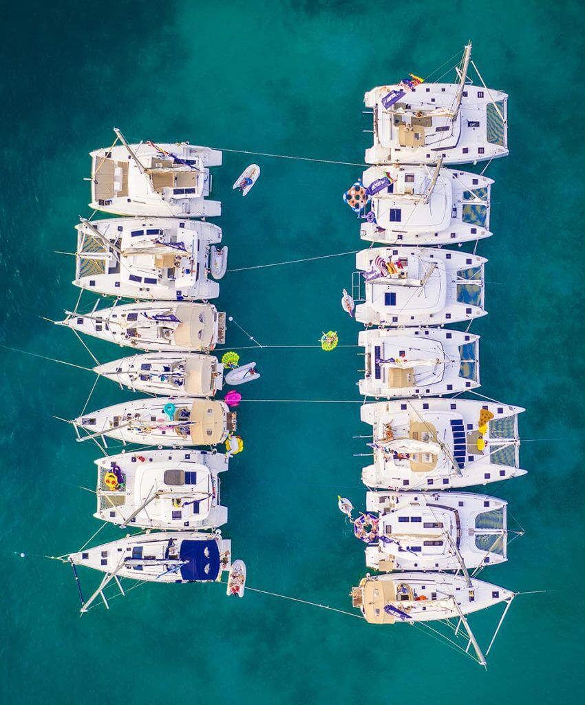 Yacht Week BVI overhead float party in the British Virgin Islands by Vacation Couple