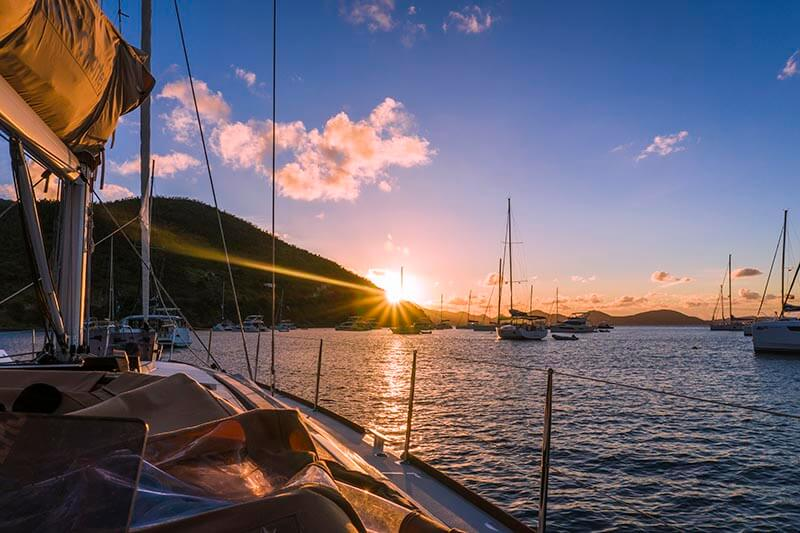 british virgin islands sunset yacht week bvi