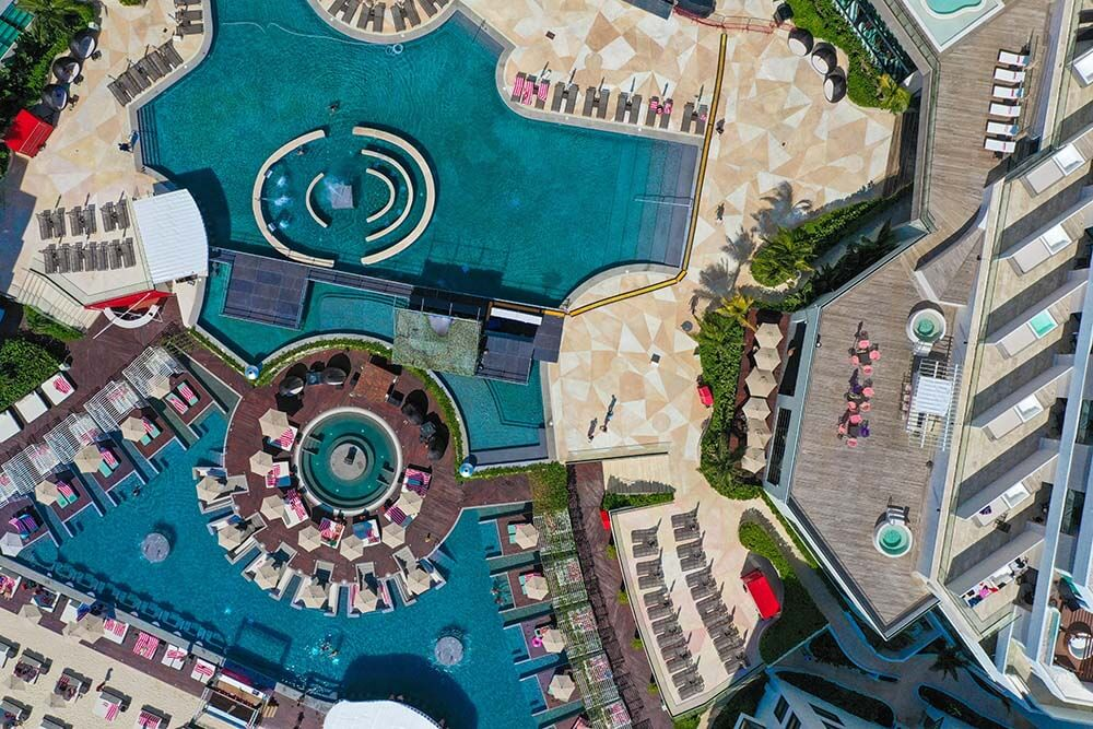 Melody Maker Cancun Aerial View of Pools and Delirio Day Club