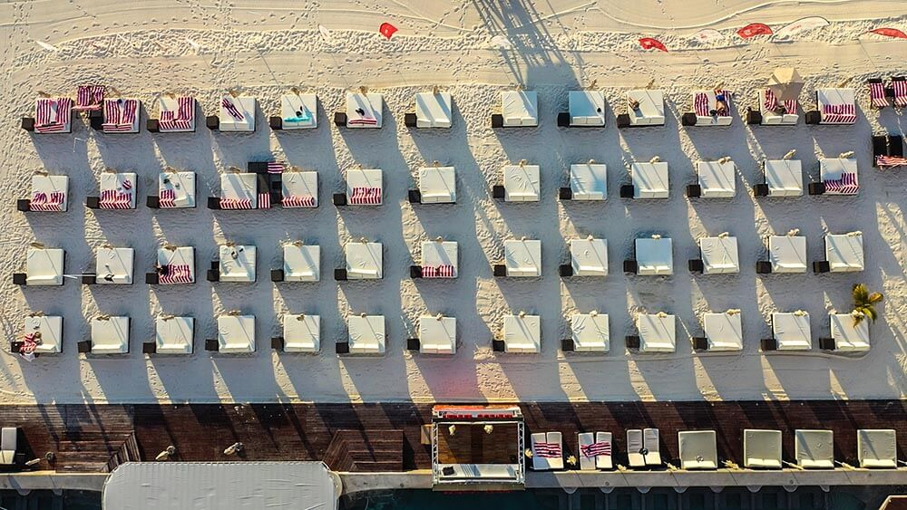 The Melody Maker Cancun Beach Beds Aerial View