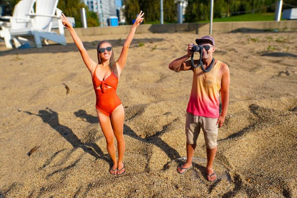 close up of selftrait 3d selfies on beach which are the best gift for someone going travelling